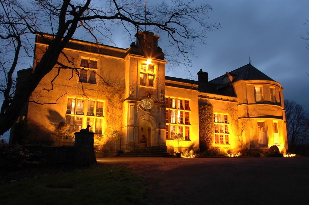 Burton Court during twilight