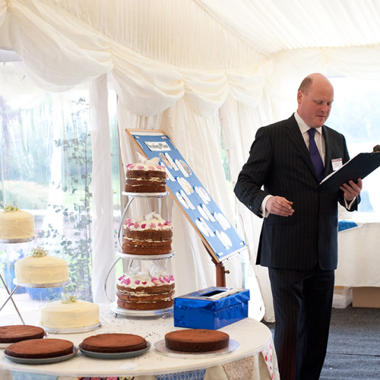Edward judging a 'cake-off'.We pride ourselves on our personal touch that we can provide for your event.