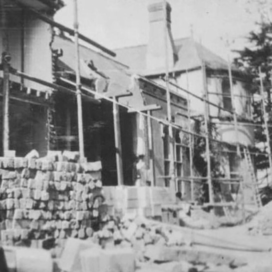 Work being undertaken in 1912 on the Eastern facade orchestrated by sir Clough Williams-Ellis, the famous architect of Portmeirion.