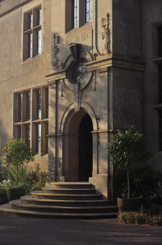 The front steps of Burton Court at dawn. This historic manor house has many features that can be used for filming television and location work.