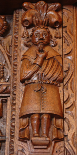 A Cromwellian figurine detail in the overmantle in the stunning Great Hall