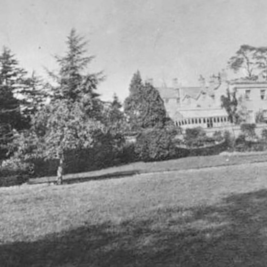 The gardens at Burton Court. This archive photograph was taken in July 1914.
